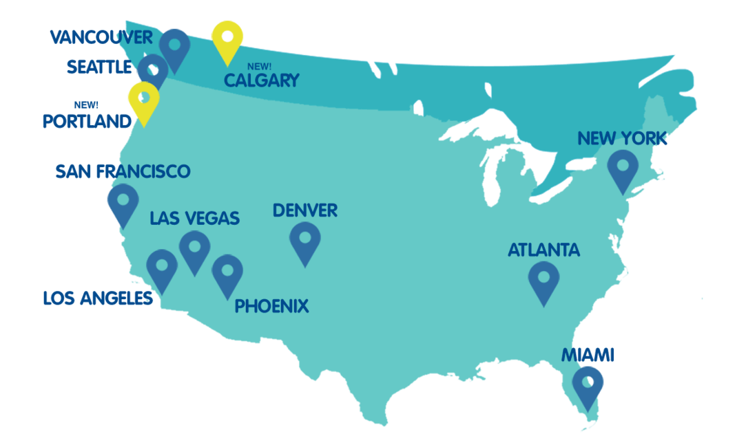 Escape Campervans Rental Depot Locations in the US and Canada