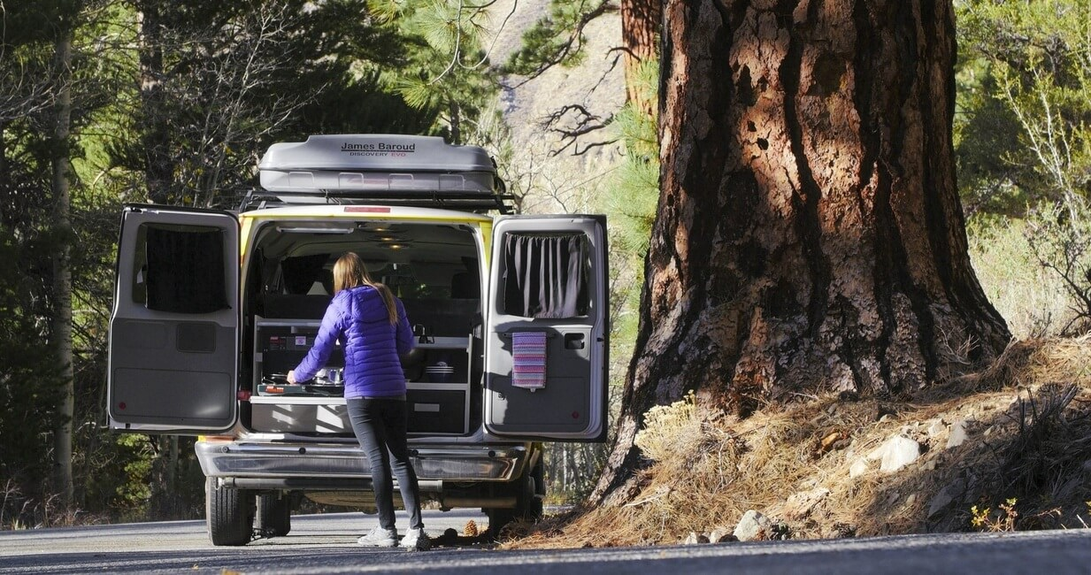 Cooking in the campervan kitchen at Sequoia National Park in California