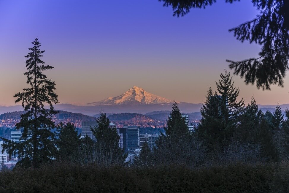 Mt Hood at Sunset with Portland City Center