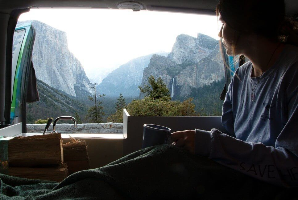 Tunnel View Yosemite National Park by campervan
